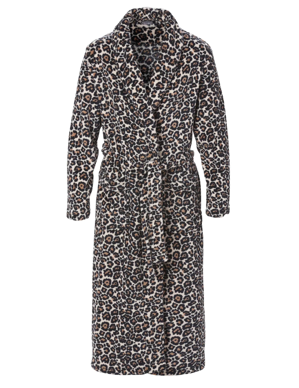 Morgonrock Leopardmönstrad Fleece Svart