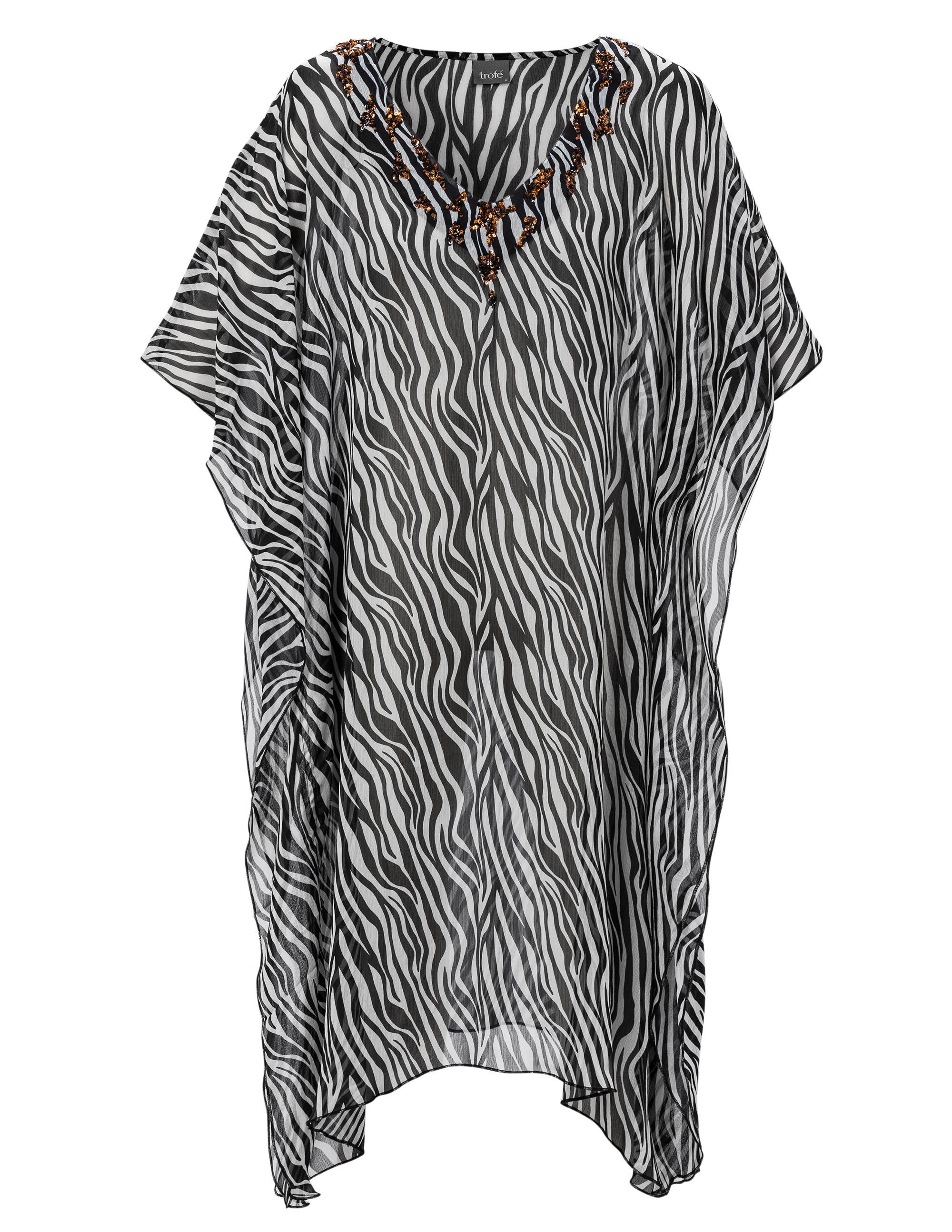 Kaftan Strandklänning Zebra Svart/Vit
